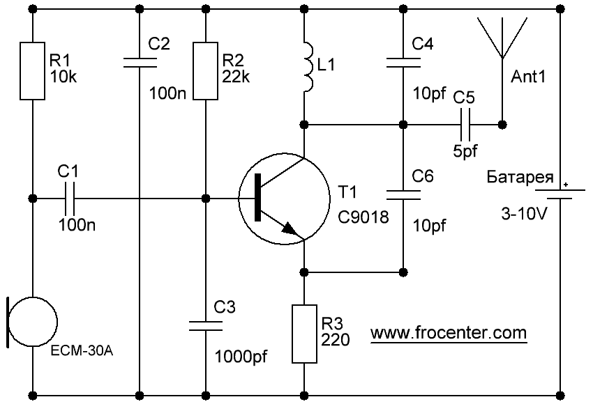 Схема радио жучка